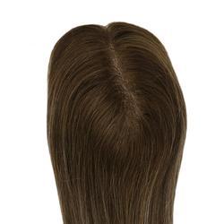 Moresoo Haar Topper für Frauen Maschine Remy Menschliches Brasilianische Haar Topper Mit Clips Toupet 1,5*5 zoll 10- 18 zoll #4/27/4 Braun