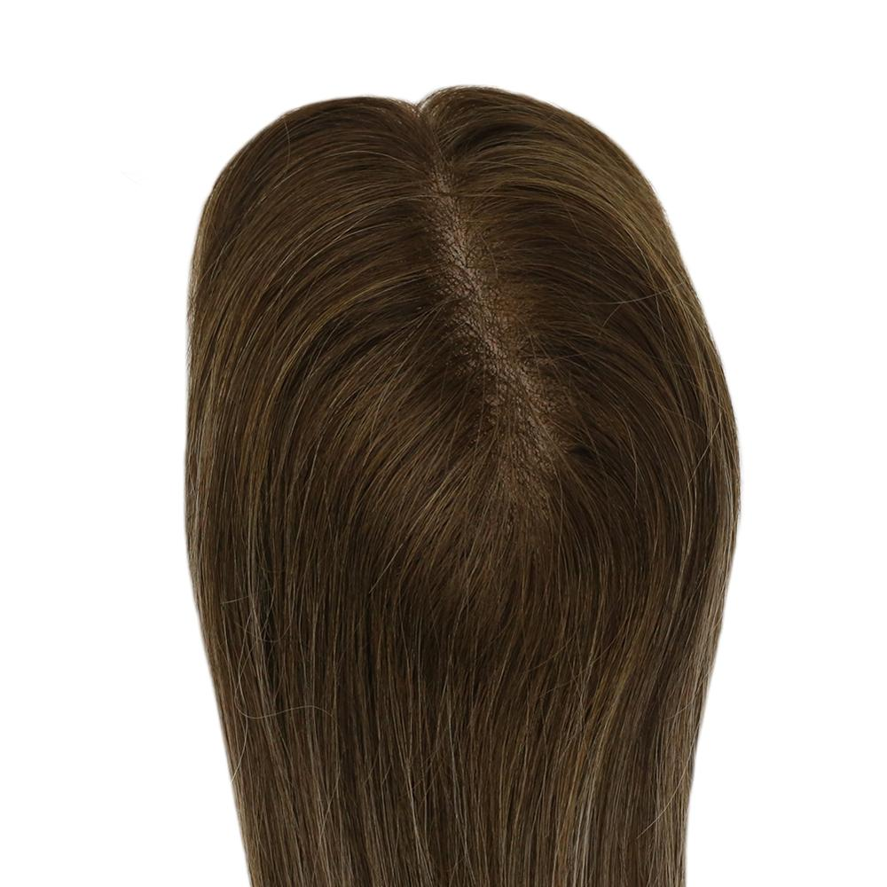 Moresoo Hair Toppers For Women Machine Remy Human Brazilian Hair Toppers With Clips Toupee 1.5*5 Inch 10-18 Inch #4/27/4 Brown