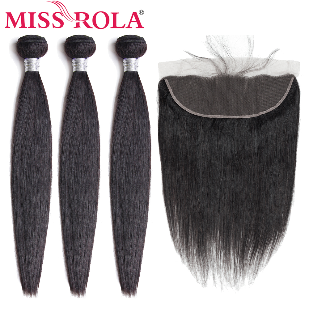Miss Rola Hair 100% Human Hair Bundles Malaysian Straight Hair Natural Color 3 Bundles With 13*4 Lace Frontal Closure Non-Remy
