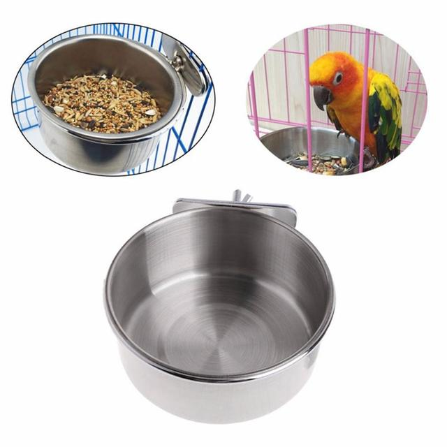 Stainless Steel Cage Coop Hook Cup Bird Parrot Feeding Cups Cage Hanging Bowl Bird Coop Cups Seed Water Food Dish Feeder Bowl 3