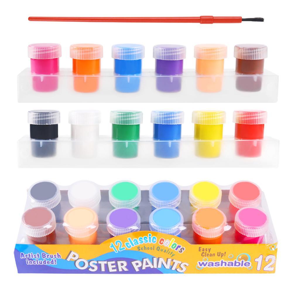 13PCS/Set Children Finger Painting Paints Vibrant Colors Safety Washable Gouache Paint Doodle Set For Kids 12 Colors
