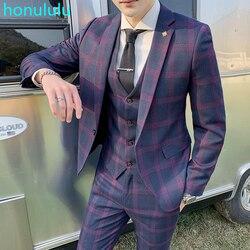 Anzug männer anzug drei stück jugend freizeit anzug männer der Europäischen und Amerikanischen Britischen überprüfen mode Slim Fit Hochzeit kleid