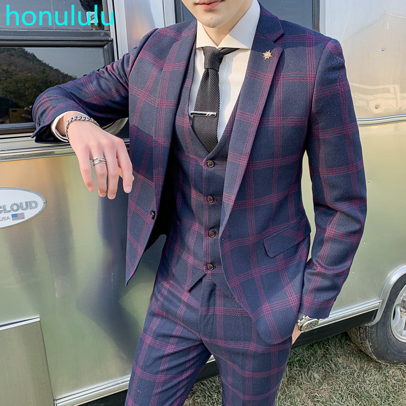 Suit Men's Suit Three Piece Youth Leisure Suit Men's European And American British Check Fashion Slim Fit Wedding Dress