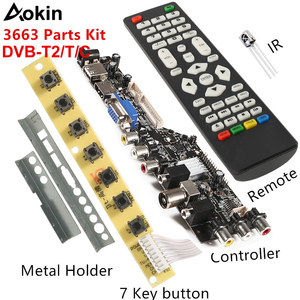 NEW Digital Universal TV Controller Driver V56 V59 LED LCD TV Driver Board DVB-T2+7 Key Switch+IR+4 Lamp Inverter+LVDS Kit 3663(China)