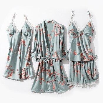 Satin Kimono Bath Gown 4PCS Robe Sleepwear Set Women Summer Thin Nightdress Sexy Nightwear Suit Print Flower Homewear Pajamas fox print nightdress