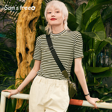 Samstree Women Summer Striped T-Shirts Design Short Sleeve Green O Neck Office Lady Tees Cotton Chic Black Loose T-shirts 2019