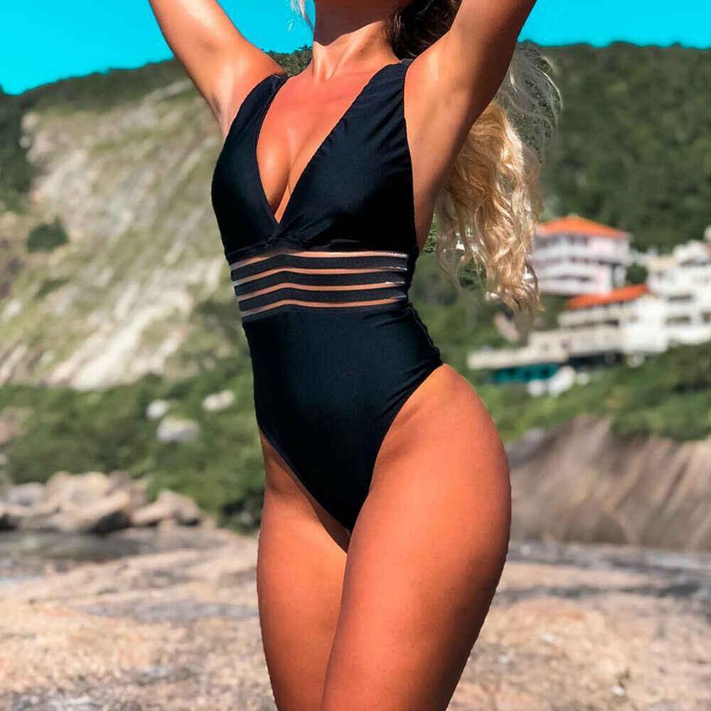 2019 сексуальный цельный купальник для женщин с завязками высоко на шее крест сзади шеи Монокини черный купальник Женские Купальники костюм