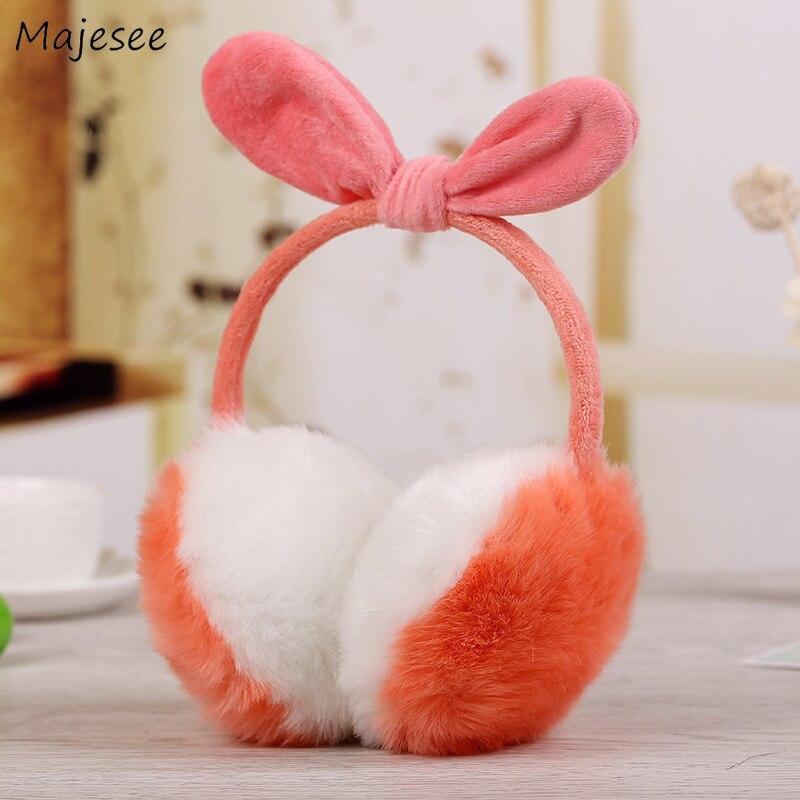 Наушники для женщин Kawaii зимние детские кроликовые уши Твердые Простые милые универсальные теплые мягкие удобный противошумный наушник