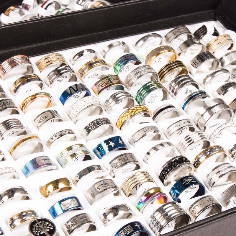 Wholesale Bulk Lots 50pcs Rings Mix Styles Top Mens Womens unisex Fashion colorful Stainless Steel Wedding Jewelry Gifts