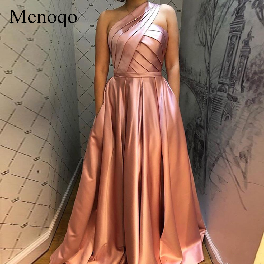Menoqo One Shoulder A Line Prom Dresses Pleats With Pockets Floor Length Women 2019 Formal Evening Party Gowns P14JY25