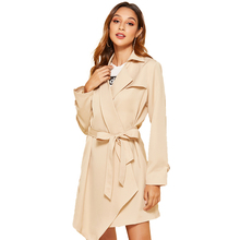 Autumn Casual Trench Coat Women Windbreaker Fashion Sashes Business Outerwear Office Plus Size Beige Korean Clothes