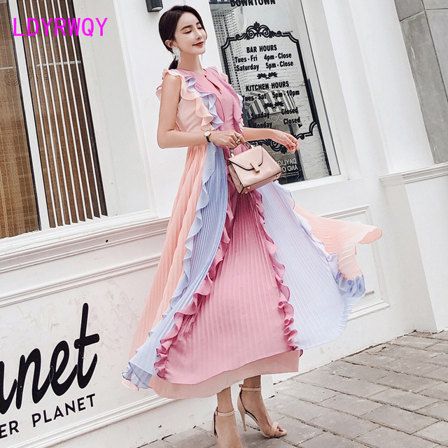 2020 Summer New Pleated Colorblock Lotus Leaf Chiffon Long  Rainbow Dress Office Lady  Cotton  Sleeveless 2