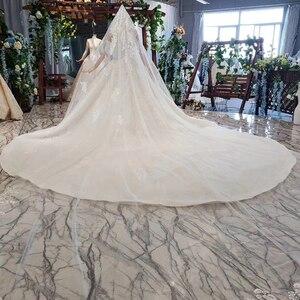 Image 5 - HTL698 luxury wedding dresses with wedding veil beaded boat neck off shoulder handwork lace wedding gowns 2020 encontrar loja