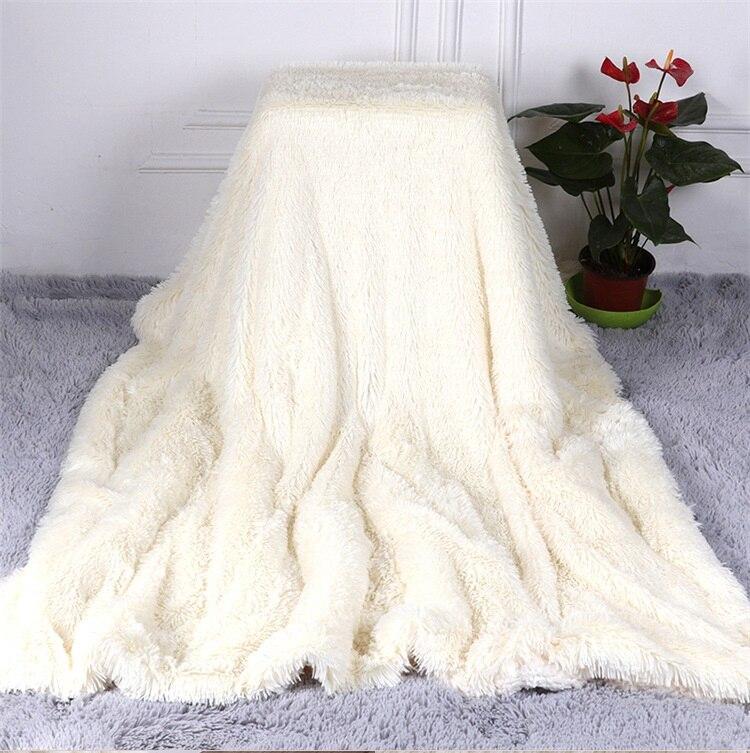 Plush Blanket Soft Fur Faux With Fluffy Throw Blanket Bed Sofa Bedspread Long Shaggy Warm Bedding Sheet Cozy Blankets