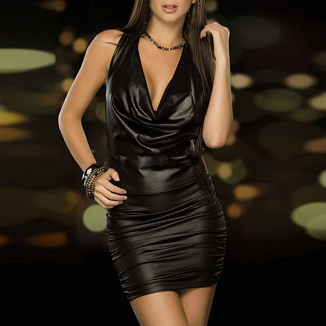 Sexy Women Exotic Dresses Wet Look Backless Bandage Deep V-Neck Dress Halter Latex Costume Party Night Club Pole Dance Dress