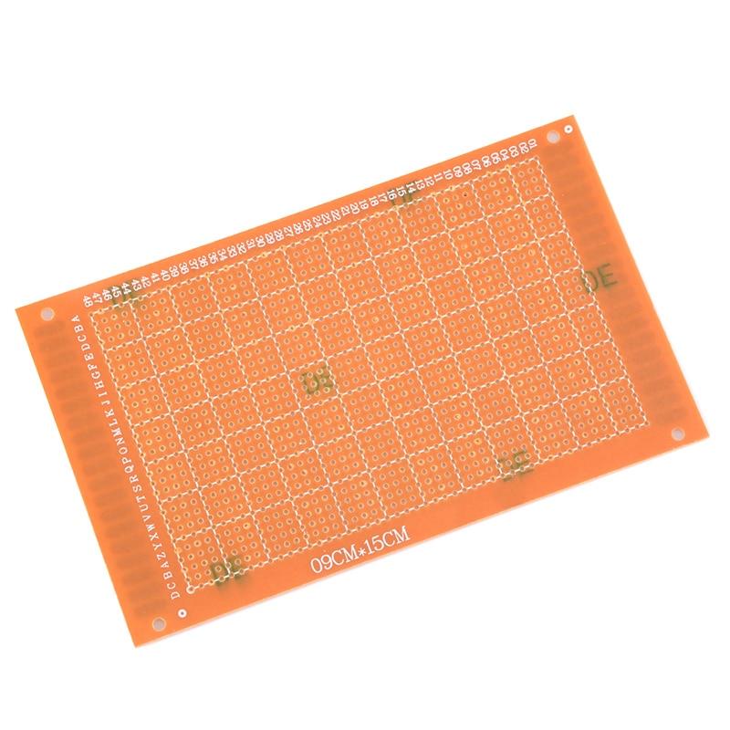 Placa Universal de circuito de placa de cobre de baquelita, prototipo de una cara, 9x15, 9x15cm, 5 uds., color amarillo PCB de una sola cara    -
