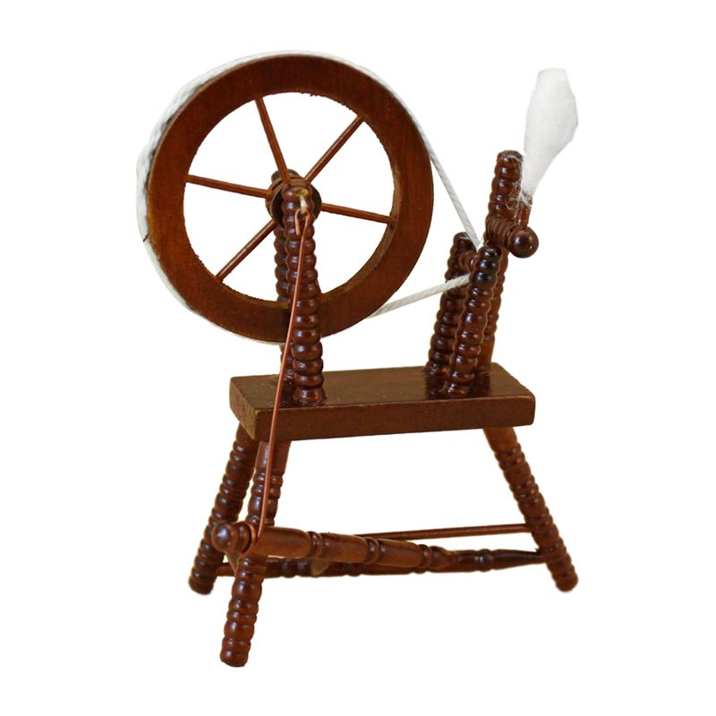 1:12 Scale Doll House Miniature Hand Reeling Machine Wooden Spinning Wheel Brown
