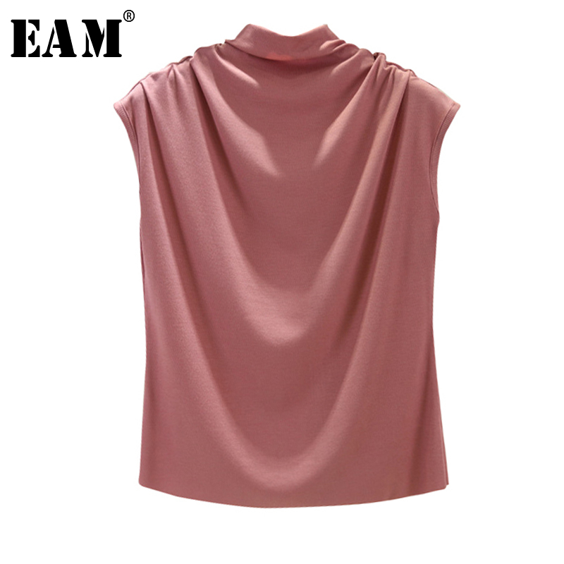 [EAM] Women 8 Colors Brief Pleated Khaki Pleated T-shirt New Turtleneck Sleeveless  Fashion Tide  Spring Summer 2020 1X854 1