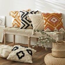 Boho Tufted Cushion Cover Morocco Geometric Pillow Case Plush Decorative 45*45cm/30*50cm Pillow Cover Sofa Bed Home Decor