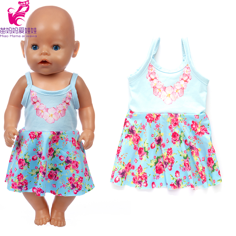 17 Inch Baby New Born Doll Clothes Strap Flower Dress 18 Inch Girl Doll Clothes Jacket