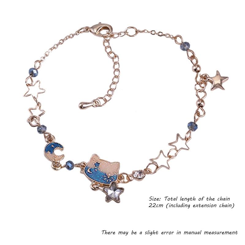 Playful girlysense beautiful kitty bracelet woman cute star moon gradient color all-match jewelry lover souvenir girlfriend gift