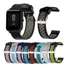 20mm Silicone strap For Huami Xiaomi amazfit bip youth smart watch band Strap colorful Sport Wristband 22mm For huawei GT watch 20mm nylon sport strap watchband for huami amazfit bip youth smart watch replacement comfortable wristband watch band strap