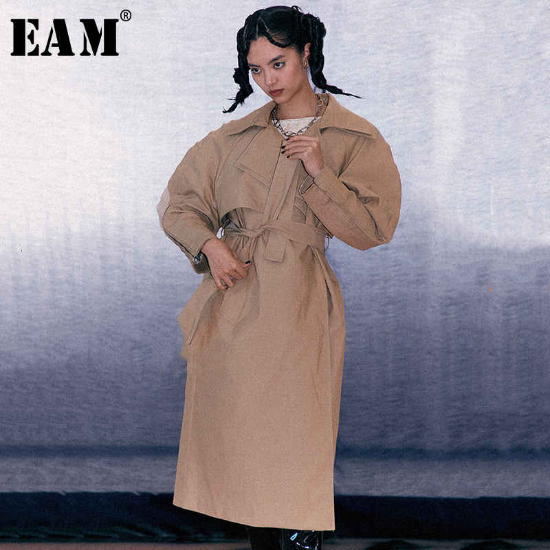[EAM] Women Three-dimensional Split Long Trench New Lapel Long Sleeve Loose Fit Windbreaker Fashion Autumn Winter 2019 1D500
