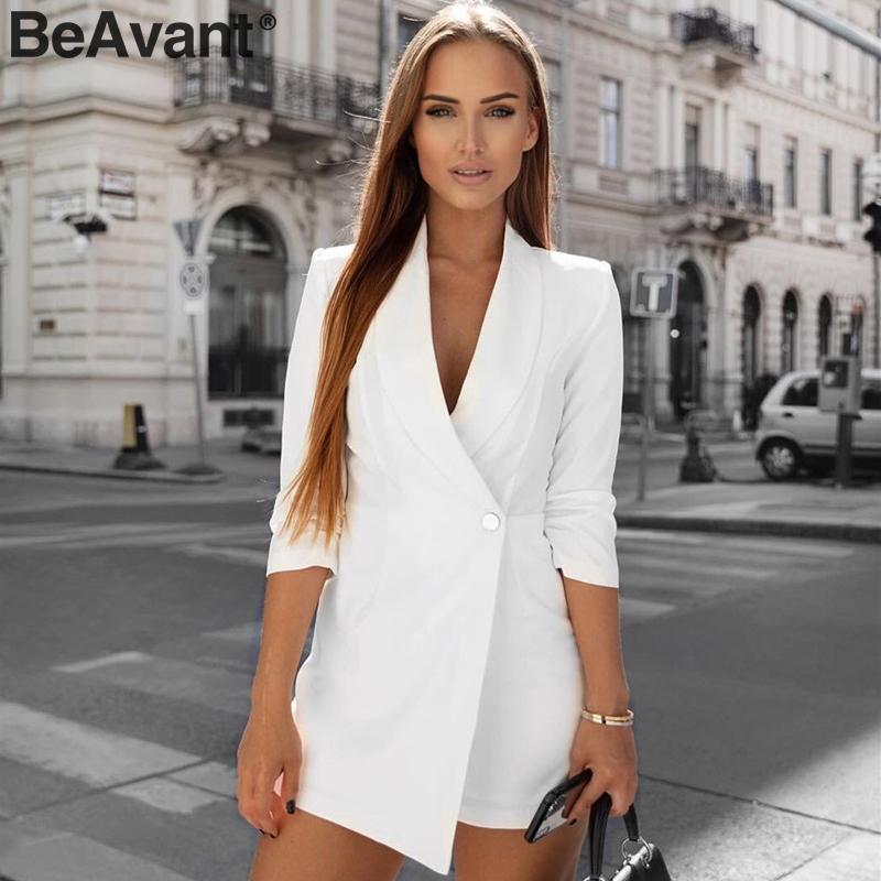 BeAvant Streetwear Women Blazer Playsuit Romper Half Sleeve V Neck Button Office Ladies Overalls Autumn Winter Female Jumpsuit