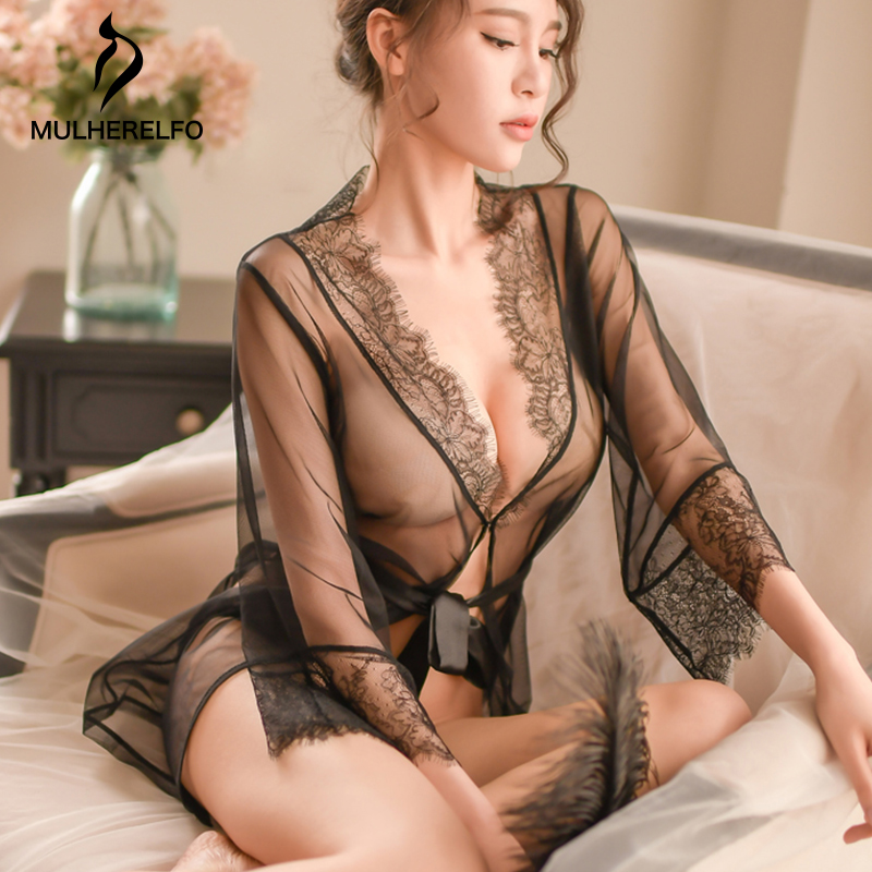 Spring V-Neck Black Mesh Nightwear Women Lace Long Sleeve See Through Belt Sleepwear Women Sexy Temptation Home Dress Sleepwear