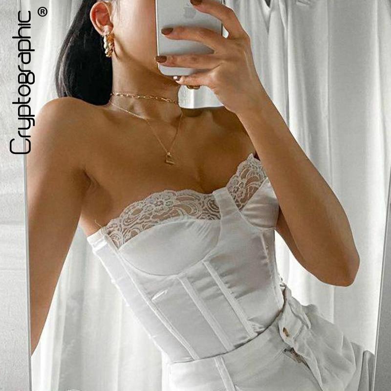 Criptográfico de hombro de encaje de ahuecadas Crop Tops para mujeres Top sin mangas sin respaldo pantalones femenino parte de arriba ropa informal