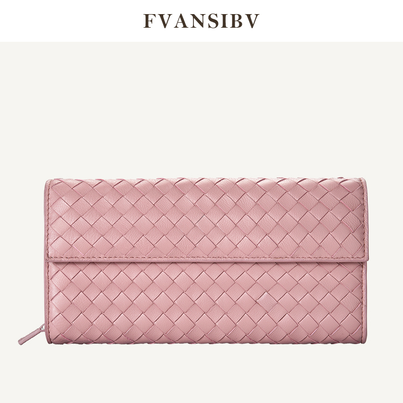 Wallet Women's Long Woven Clutch 2020 New Flip-Style Large-Volume 100% Sheep Leather Sheepskin Luxury Brand Design Money Clips