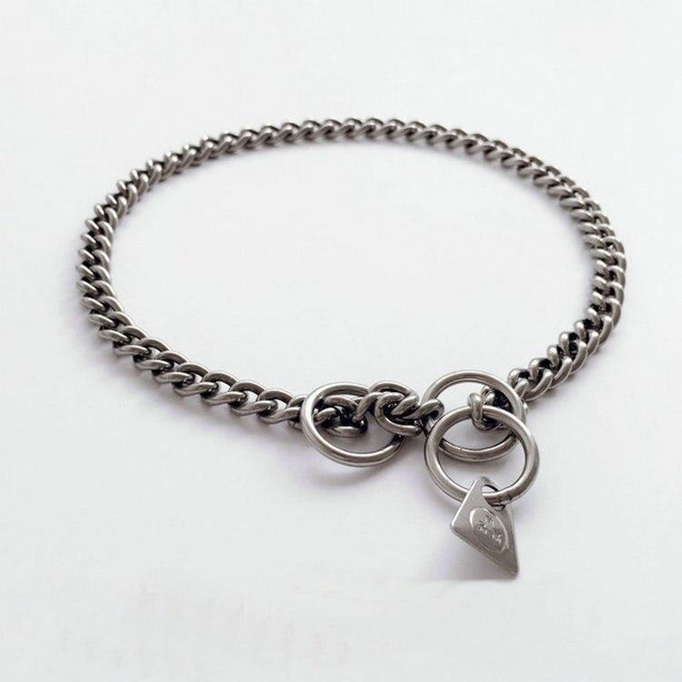 Dog Pendant Sub-Pet Stainless Steel P Pendant Training Anti-Scour Neck Ring Dog Leash Dog Collar Necklace