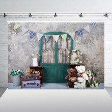 Grunge Cement Wall Green Door Backdrop for Newborn Kids Birthday Party Portraits Photo Studio Background Banner Decor XT-7637(China)