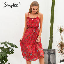 Simplee Sexy sleeveless women dress Floral print ruffled high waist beach dress Slim fit maxi a line cotton casual summer dress