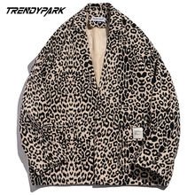 Пиджак мужской с леопардовым принтом винтажная уличная одежда