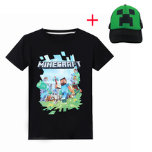 Boy New Year 3D Cartoon Minecraft Print black T Shirt For Girls Tee Tops Clothes Children Summer Clothing Baby Cotton Costume цена