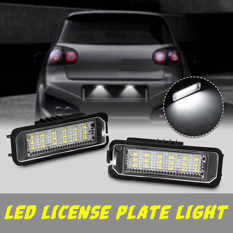 NEW 2Pcs 12V 5W LED Number License Plate Light Lamps for VW GOLF 4 6 Polo 9N for Passat Car License Plate Lights Exterior Access
