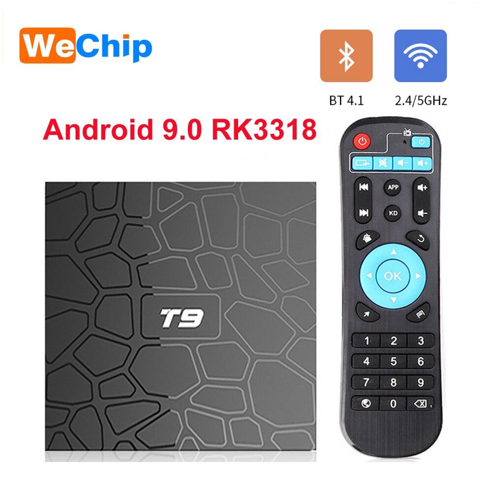 Wechip T9 Smart TV Box Android 9.0 RK3318 4GB 64GB 1080P H.265 lecteur multimédia 4G 64G 4K HD 2.4G & 5G double Wifi BT 4.0 décodeur