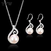 цены Imitation Pearls Dangle Earrings Set Women Wedding Party Exquisite Jewelry Set Charm Pendant Necklace And Chic Earrings