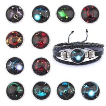 1Pcs Twelve Constellation Zodiac Sign Braided Leather Bracelet Cancer Leo Virgo Libra Woven Glass Dome Jewelry Gifts