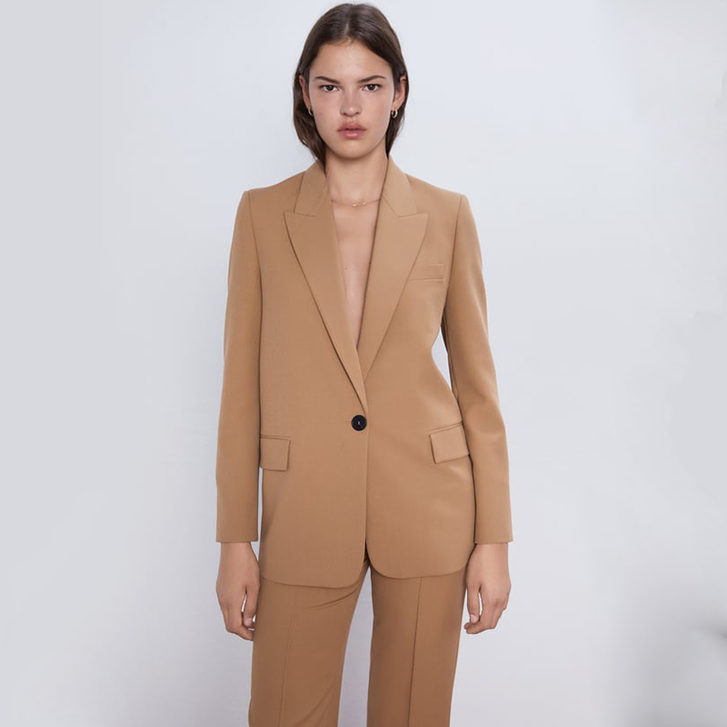 ZA Blazers 2019 Fashion Solid Collar Long Sleeve One Button Blazers Back Slit Pocket Blazers Women Clothing Party Gift Wholesale