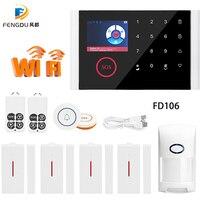 2019 Newest Wireless Home Security GSM WIFI GPRS Alarm System IOS Android APP Remote Control PIR Sensor Door Sensor Doorbell kit