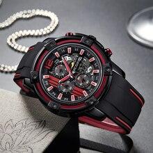 MEGIR Chronograph Mens Sport Watches with Silicone Band Big Dial Military Quartz Watch Mens Clock Relogio Masculino Reloj Hombre