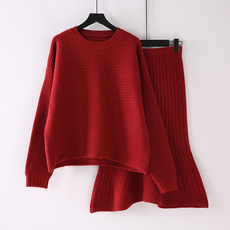 2019 Early Autumn Set Fashion Network Red Port Kong-Style Retro Elegant Goddess-Style Graceful Sweater Skirt Two-Piece Set