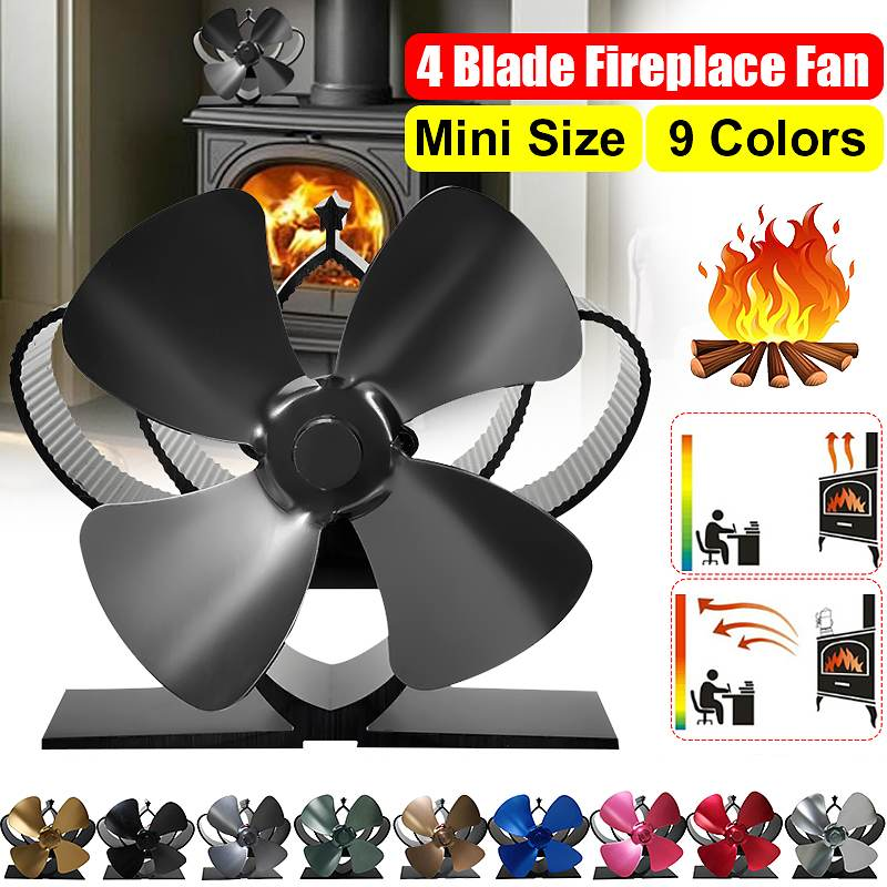 Mini Fireplace 4 Blade Heat Powered Stove Fan Komin Log Wood Burner Eco Friendly Quiet Fan Home Efficient Heat Distribution