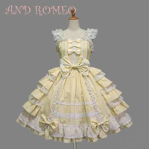 Image 5 - Classic Lolita Dress Womens Layered Cosplay Costume Cotton JSK Dress for Girl 10 Colors