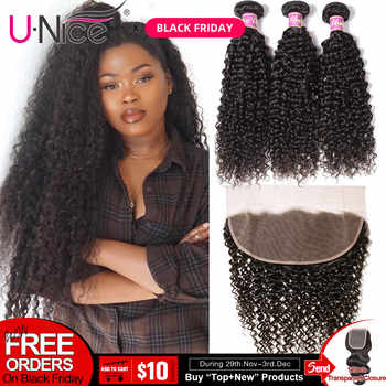 UNice Hair Curly Human Hair With 13x4/6 Transparent Lace Frontal Brazilian Hair Weave Bundles 4/5 PCS Remy Human Hair Extensions - DISCOUNT ITEM  30% OFF All Category
