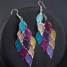 Sete-color pequeno nove folha acessórios folhas brinco boêmio jóias balançar brincos de gota boho bonito decoração feminino presente