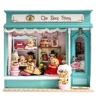 Doll House DIY Miniature Dollhouse Model Wooden Toy Furnitures Casa De Boneca Dolls Houses Toys Christmas Gift The Bear Story