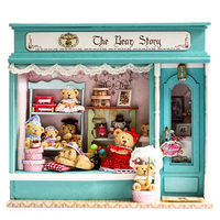 Doll House DIY Miniature Dollhouse Model Wooden Toy Furnitures Casa De Boneca Dolls Houses Toys Christmas Gift The Bear Story
